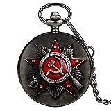 ZMKW Retro Russland Sowjetunion Russische Flagge Hammer Abzeichen Sichel Taschenuhr Design Halskette Kette Geschenk für Männer Frauen, Taschenuhr