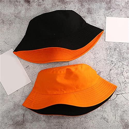 AOQW Fisherman's Hat Double Side Women Bucket Hat Fashion Solid Men Women Summer Bucket Cap Foldable Wide Brim Hip Hop Hat Fisherman Hats