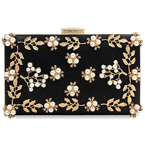 Milisente Women Clutches Pearls Evening Bag Clutch Purse Bags (Black)