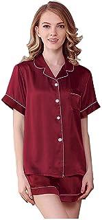 NANJUN Women's Silky Satin Pajamas Sleepwear Short and Long Button-Down Pj Set