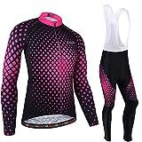 BXIO Rose vêtements de Cyclisme, VTT Hiver Femmes Maillots de Cyclisme Manches Longues et Collants...