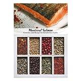 Montreal Salmon – 8 Gewürze Set für kanadischen Lachs (57g) – in einem schönen Holzkästchen – mit Rezept und Einkaufsliste – Geschenkidee für Feinschmecker von Feuer & Glas