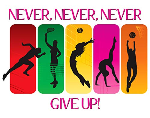 Never Give Up Female Athlete Fine Art Print Decor- Motivational and Inspirational Wall Art Poster - 11x14 Unframed Volleyball, Gymnastics, Basketball Photo Gift - Apartment, Dorm Accessories Under $15
