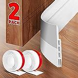 Holikme 2 Pack Door Draft Stopper Under Door Draft Blocker Insulator Door Sweep Weather Stripping Noise Stopper Strong Adhesive 37' Length