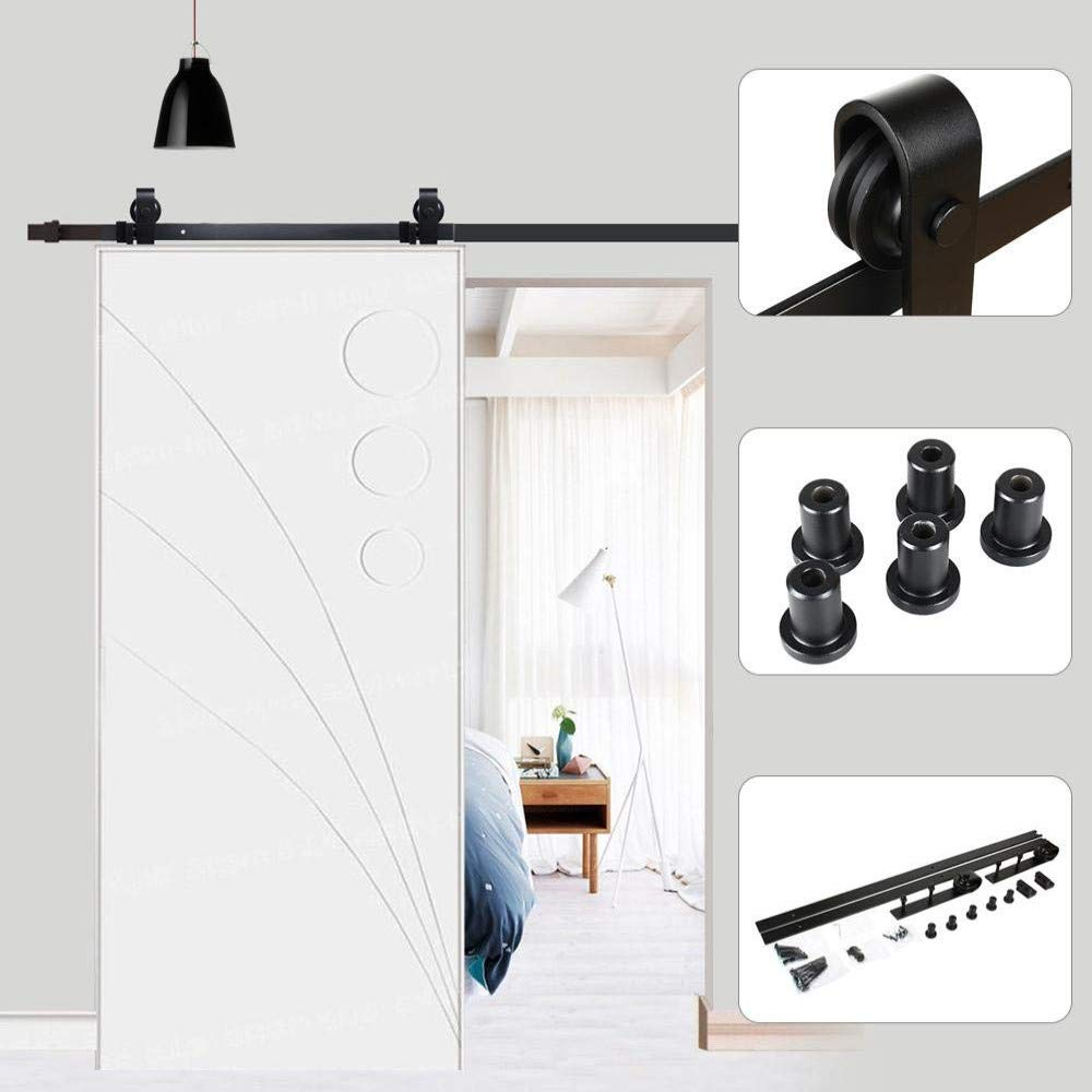 Riel para puerta corredera, 200 cm, puerta corredera de chapado, kit de accesorios para la puerta de la casa, carga máxima 120 kg, negro, para una puerta corredera de madera estilo rústico: