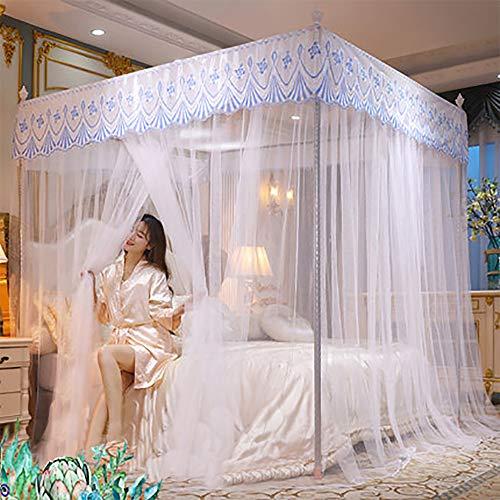 Vier Säulen Elegantes Moskitonetz Bettdecke Set Geeignet Für Normales Doppelbett Großes Doppelbett Größe Mit Oder Ohne Vier-Säulen-Bett Mit Ständer,Weiß,B