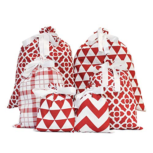 6 Red Elegant Fabric Christmas Gift Bags for Xmas Party Favors, Holiday Gift Giving, Goody Bags, Holiday Presents Décor, Giant Gifts Decorations