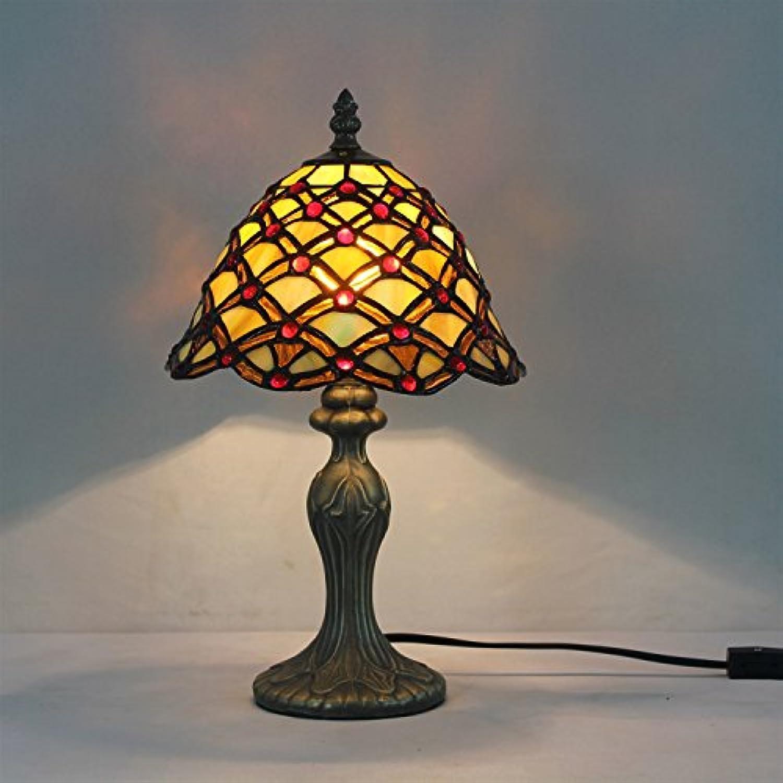 HDO 8-Zoll Pastorale Glasmalerei rot Perlen Tischlampe Schlafzimmer Lampe Nachttischlampe