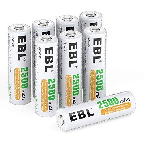 EBL 単三電池 充電式 ニッケル水素充電池 8本入り 防災電池 1.2V 高容量2500mAhで長持ち 約1200回使用可能 液漏れ防止設計 おもちゃ、LED懐中電灯、ラジオ、カレンダーに適用 単3電池 充電池