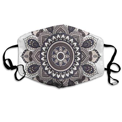 MundschutzAtmungsaktiveGesichtsmundabdeckungStaubdichter,Oriental Mandala Flower Vintage Boho Abstract Round Yoga Motif,Gesichtsdekorationen