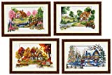 TINMI ATRS 4 Pack DIY Stamped Cross Stitch Landscape Kits Thread Needlework Embroidery Printed Pattern 11CT Home Decoration Four Seasons