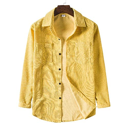 Chaqueta Tipo Camisa para Hombre, Solapa de Color sólido, cómoda, versátil, cálida, Suelta, Informal, Costura, Camisa básica con Dos Bolsillos, Top XL