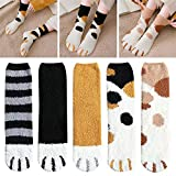 belukies 5 Pairs Women Plush Fleece Socks Cat Claws Cute Slipper Socks Thick Warm Sleep Floor Socks Fuzzy Slipper Socks