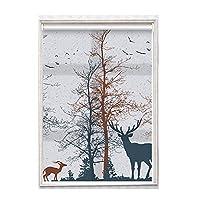 森と鹿のパターンのセミブラックアウトローラーブラインド、アルミニウムカーテンロッド、ブラインド、ブラインド、省エネおよびUV防止ローラーブラインド、家庭、窓、ドアで使用 (Size : 1.85x1.5m)
