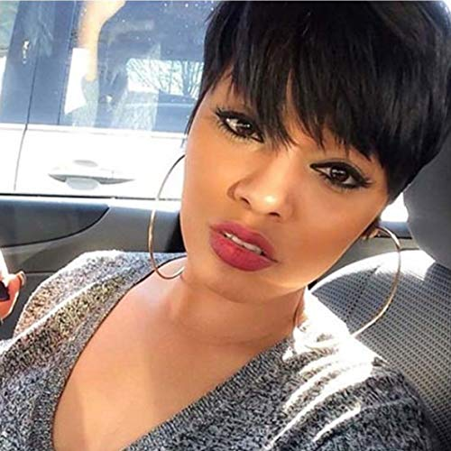 Short Pixie Wigs Human Hair Pixie Cut Short Wigs with Bangs Non Lace Front Wigs for Black Women Popular Fashion Wigs Short Black Hairstyles Human Wigs