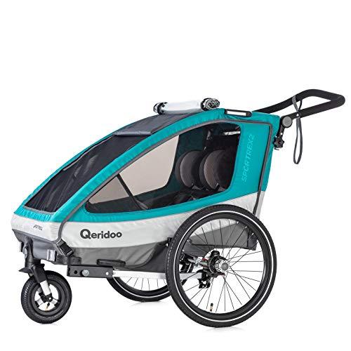 Qeridoo Kinderfahrradanhänger Sportrex2 (2019), Kinderanhänger - Aquamarin