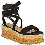 Fashion Thirsty Mujer Corcho Forma Plana Alpargatas Sandalias De Cuña Tobillo Zapatos con Cordones Talla - Negro Ante Artificial, 38