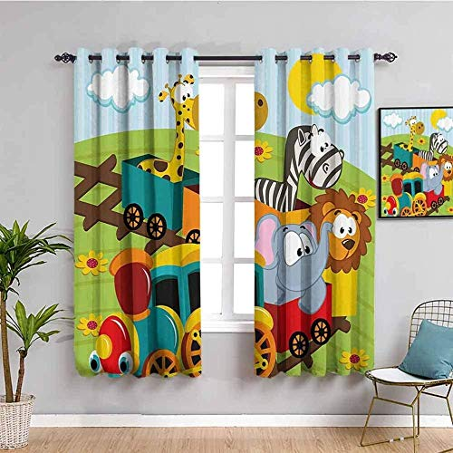 ZLYYH Window Covering Cartoon Animal Zebra Giraffe W90 xL108 Blackout Window Curtains, Grommets Panels Thermal Insulated Noise Reduce for Bedroom Living Room, Set of 2 Curtain Panels
