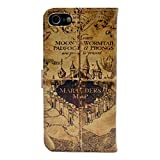 iphone 7 Case Hogwarts Marauder's Map Vintage Retro Pattern Leather Wallet Credit Card Holder Pouch Flip Stand Case Cover For Apple iphone 7 New