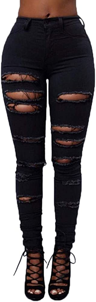 F_Gotal Women's High Waisted Skinny Destroyed Ripped Denim Pants Stretch Pencil Jeans Jeggings Sweatpants with Hole