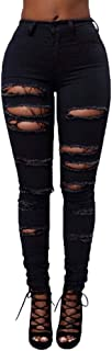 TIMEMEANS Women Mid Waisted Skinny Hole Denim Jeans Stretch Slim Pants Calf Length Jeans