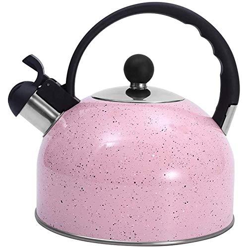 Gaoominy Hervidor de Té, Hervidor de Té de Acero Inoxidable con Silbido para Todas Las Estufas para Té, Base Delgada, 2,5 litros Rosa