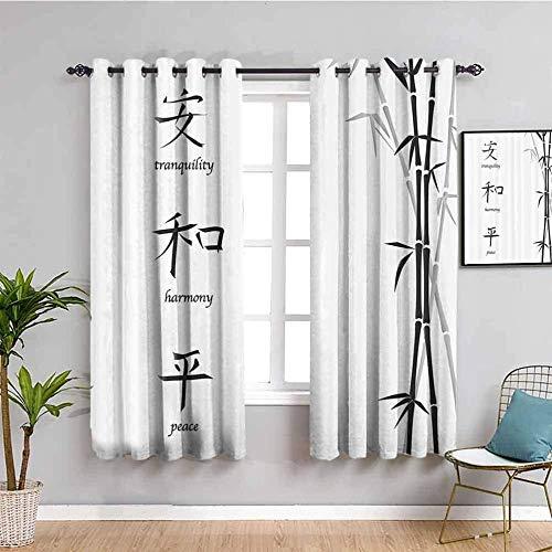 MENGBB Cortina Opaca Microfibra Infantil - Blanco bambú caracteres chinos simple. - 90% Opaca Cortina aislantes de frío y Calor - 160x180cm Decorativa con Ojales Estilo para Salón Habitación y Dormito