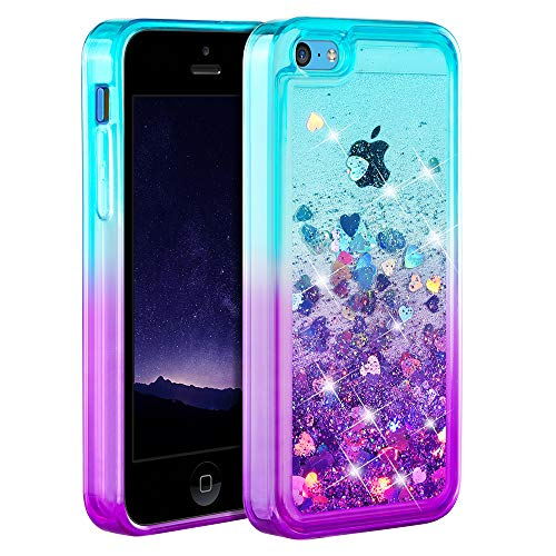Ruky iPhone 5c Case, Gradient Quicksand Series Glitter Flowing Liquid...