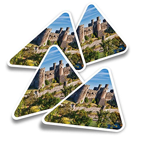 Vinyl Triangle Stickers (Set of 4) - Welsh Conwy Castle Wales Fun Decals for Laptops,Tablets,Luggage,Scrap Booking,Fridges #16376