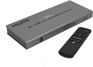 XOLORspace QV801 4K HDMI 8x1マルチビューア8 HDMI入力1 HDMI出力HDMI Quad viewer HDMI 8画面分割表示、 hdmi画面分割切替器 マルチビューワーRS232