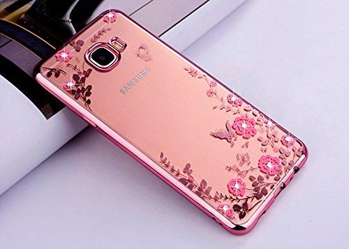 ZCRO Handyhülle für Samsung Galaxy A3 2016 / A310, Silikonhülle Hülle Silikon Transparent Klar Schutzhülle TPU Case Glitzer Bling Glitter Diamant Dünn Cover für Galaxy A3 2016 / A310 (Rose Gold,Rosa)