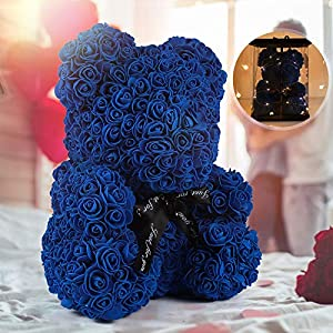 """Silk Flower Arrangements Rose Teddy Bear, Rose Bear Teddy Bear,10"""" Flower Bears with Lights,Forever Rose Bear Foam Artificial Flower,Lighted Up Rose Teddy Bear Gift for Valentines Day, Mothers Day,Anniversary (A-Royal Blue)"""