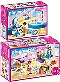 geobra Brandstätter PLAYMOBIL® Dollhouse Juego de 2 Piezas 70208 70211 Dormitorio + Baño