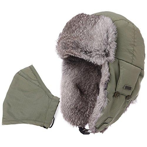 Comhats Earflap Hat Women Trooper Trapper Hat 100% Rabbit Fur Lined White Russian Hats Ushanka Army Green