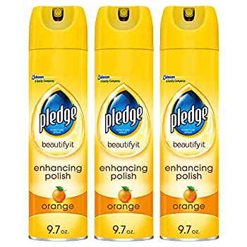 Pledge Multi-Surface Furniture Polish Spray Works on Wood Granite and Leather Shines and Protects Orange 9.7 oz - Pack of 3