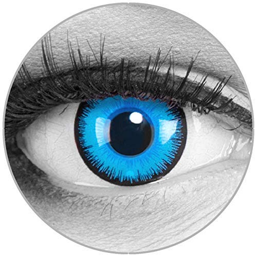 Funnylens Farbige Kontaktlinsen Alper blau – Motivlinsen weich ohne Stärke 2er Pack + gratis Behälter – 12 Monatslinsen - perfekt zu Halloween Karneval Fasching oder Fasnacht