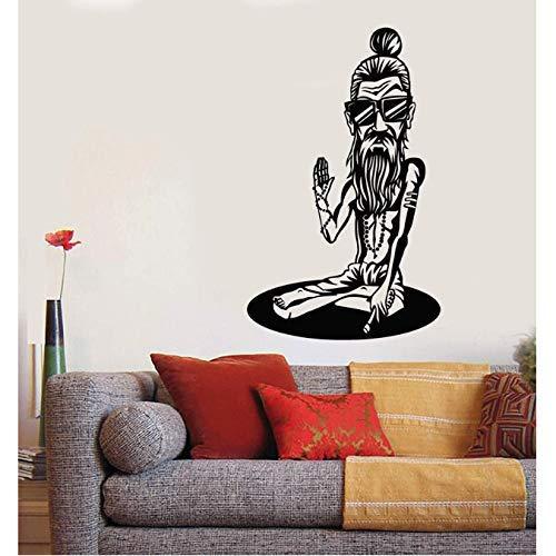 Vinyl Muursticker Yoga Zonnebril Hipster Sticker, Woonkamer Decoratie, Yoga Training Center Decoratie 57X79Cm
