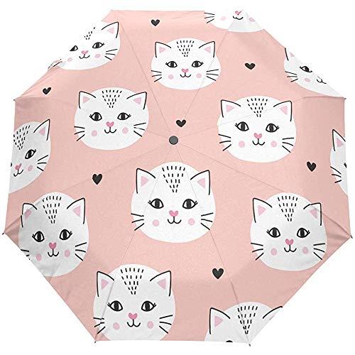 Nette Katze Tier Auto Open Umbrella Sun Regen Regenschirm Anti UV Folding Compact Automatic Umbrella
