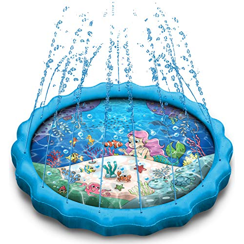 Daddy Cool - 68' Mermaid Splash Pad Kiddie Pool for Toddlers and Kids. Outdoor Water Sprinkler Toys for Backyard. Fun Outside Yard Learning and Wading Swimming Play Mat for Baby Girls.