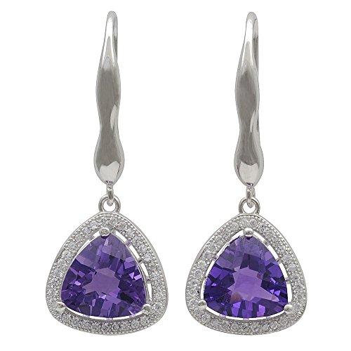 Pendientes Pendientes Amatista lila violeta & Circonitas Rundum 925plata mujer