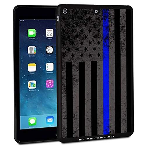 Funda para iPad de 9,7 pulgadas 2017, funda para iPad Air, a prueba de golpes, carcasa rígida de goma, con diseño retro de bandera de línea azul fina y función atril para Apple iPad de 9,7 pulgadas 5ª generación