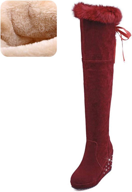 Women Winter High Heel Boots Round Toe Platform Shine Over Knee Boots Plush Fur Warm Ladies Boots