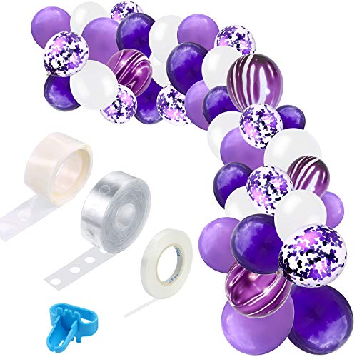 TONIFUL Purple Balloon Garland Arch kit 94 Pcs Lavender Purple White Purple Confetti Balloons for Mermaid Theme Wedding Birthday Party Anniversary Baby Shower Party Supplies Decorations