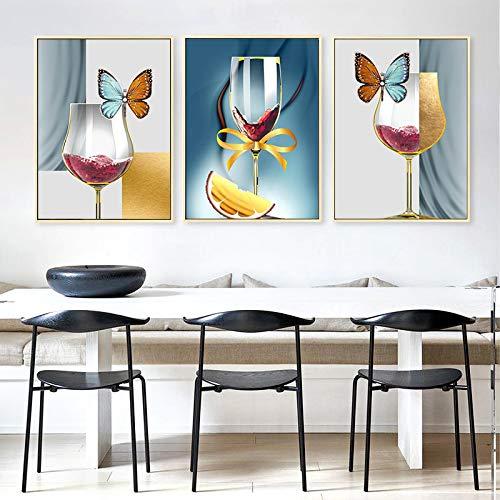 Carteles e Impresiones Abstractos de la Copa de Vino de la Mariposa Pinturas de la Lona Cuadros del Arte de la Pared del cáliz para la Sala de Estar Cuadros Decoración 40x60cmx3 sin Marco