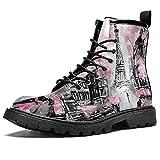Pintura Al Óleo París Zapatos Impermeable Plano Encaje Hasta Tobillo Botines Bajo Tacón Trabajo Botas De Combate, color, talla 46 EU