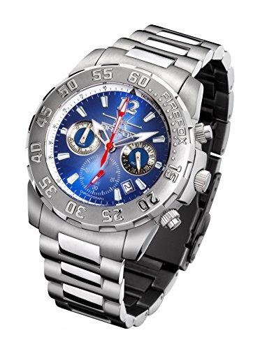 FIREFOX Traveler FFS30-103 Sunray blauw chronograaf massief roestvrij staal herenhorloge dameshorloge polshorloge veiligheidsvouwsluiting 10 ATM waterdicht