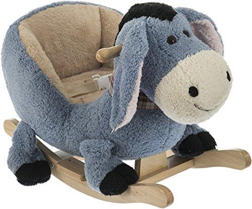 Bieco Plüsch Schaukeltier Esel | Kinder Schaukelstuhl mit Sicherheitsgurt | Baby Schaukel | Schaukel Kleinkind | Schaukeltier Baby Zimmer | Baby Schaukelwippe ab 9 Monate | Schaukelpferd Holz