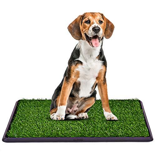 COSTWAY Hundeklo mit Rasen, Hundewelpen-Töpfchenauflage Hundetoilette Welpentoilette 3-Lagen-Trainingsunterlage Tierklo 76x51cm
