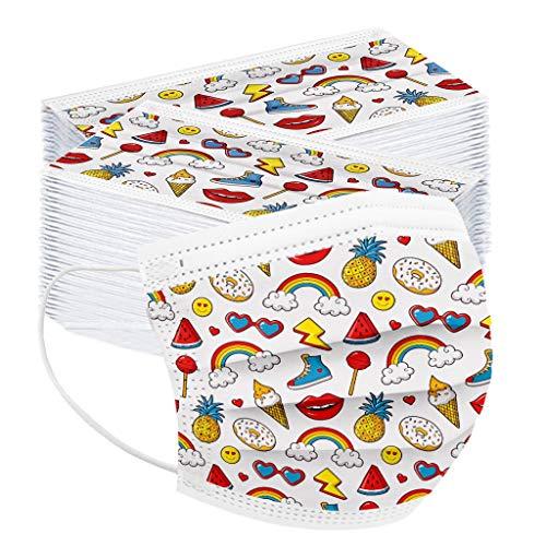 100 Piezas Unisex Cubierta Facial para niños 3 ply Tela de importación Talla única para niños niñas - 3-12 años (Arcoiris Helado)