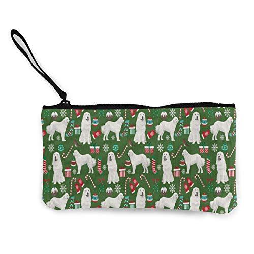 Yuanmeiju Unisex fantastiska pyrenéerna underbar jul högtid dragkedja kanvas myntväska plånbok, sminkväska, mobiltelefonväska med handtag